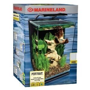 Modern 5 Gallon Portrait Fish Tank Aquarium Starter Kit with LED Lighting Marine