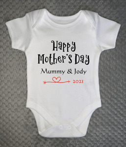 Happy Mother's Day Personalised Baby Grow - Any Name - Bodysuit Vest