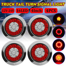 "4X 4"" Round Red/Amber 16-LED Truck Trailer Brake Stop Turn Signal Tail Lights"