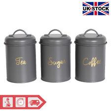 3pc Kitchen Storage Set Tea Coffee Sugar Canister Organisers - Grey