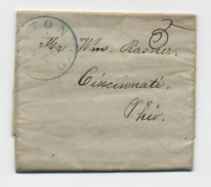 1848 Dayton Ohio blue CDS stampless folded letter [5808.50]