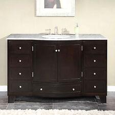 55-inch White Marble Stone Countertop Bathroom Vanity Single Sink Cabinet 0703WM