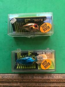 TWO    Vintage Storm-Pre -Rapala  LURE WIGGLE WART     IN OLD  PLASTIC BOX