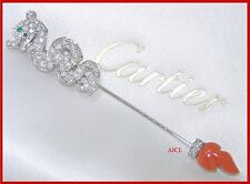 CARTIER LE BAISER DU DRAGON 18kWHITE GOLD DIAMOND EMERALD CORAL JABOT PIN BROOCH