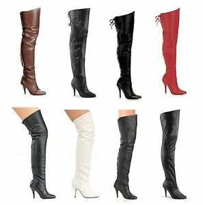 Pleaser LEGEND-8868 8890 8899 Sexy Leather Thigh High boots Size 6-16