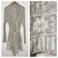 Lemon Medium Large M L Soft Gray Fuzzy Sweater Cardigan Duster Tie Belt
