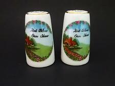 """Set of White Ceramic """"GOD BLESS OUR HOME"""" Salt & Pepper Shakers w/ Stoppers EUC"""