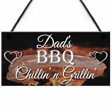 Dad's BBQ Hanging Plaque Grill Shed Man Cave Fathers Day Sign Gift Cooking Chef