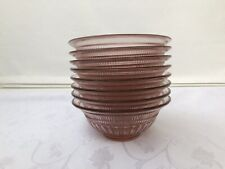 """Anchor Hocking Annapolis Rosewater Soup Cereal Bowl 6.5"""" Pressed Set Of 8 Pink"""