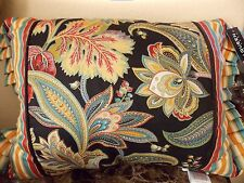 "NEW J QUEEN MICHELLE BLACK MULTI 14"" X 18"" BOUDOIR  PILLOW"