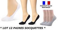 12 SOCQUETTES BALLERINE INVISIBLE PROTEGE PIEDS SOCQUETTE FEMME FILLE CHAUSSETTE