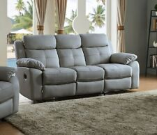 Grey High Grade Leather 3 Seater Reclining Recliner Suite CHICAGO