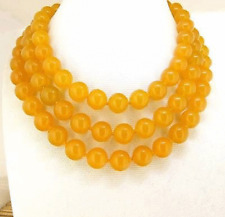 Rare 10mm Necklace Yellow Jade Round Gemstone Bead Knotted 36""