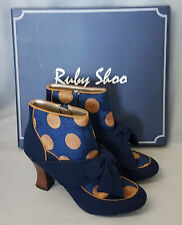 New Ruby Shoo Seren Navy Ladies Zip Up High Heel Ankle Boots Shoes Box Size 7