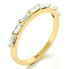 14K Solid Yellow Gold Baguette Diamond Wedding Thin Band Stacking Modern Ring