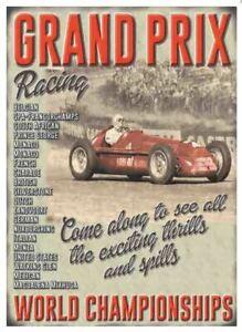 Grand Prix Racing World Championships large metal sign (og 4030)