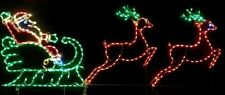 Santa Claus in Sleigh w Reindeer Outdoor LED Lighted Decoration Steel Wireframe