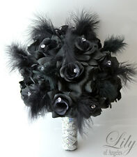 17pcs Wedding Bridal Bouquet Set Silk Flower Decoration rose White Black Feather