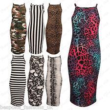 Ladies Women's Leopard Army Print Spaghetti Strappy Bodycon Midi Dress Plus 8-22