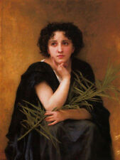 Nice Oil painting Bouguereau - Reflection Young gil portrait canvas handpainted
