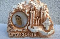 MEDJUGORJE Apparition Hill statue with with Our Lady and Medjugorje Church