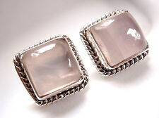 Rose Quartz Square Stud Earrings Rope Weave Border Accented 925 Sterling Silver