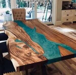 Wooden Walnut Custom Green Resort, Dining Room Decorative Epoxy Table Furniture