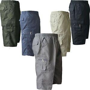 Mens Plain Elasticated Lightweight 3/4 Cotton Cargo Combat Shorts Pants New