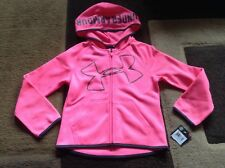 Girls Under Armour full zip pink hooded jacket size 5(NWT)
