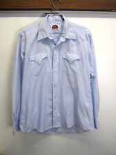 vtg Miller Western Shirt Pearl Snap polycotton light blue yoke sz L 16.5-36