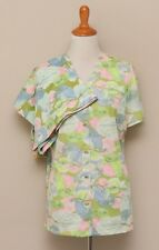 Vintage 1960s Womens M/L Green/Pink/Blue Owl Pajama Set