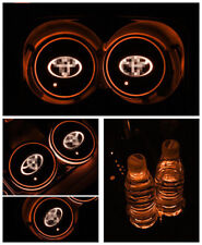 X2 For TOYOTA GT Colorful LED Car Cup Holder Pad Mat Auto Atmosphere Light
