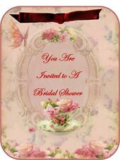 Vintage inspired roses tea Bridal Shower invitations set of 8
