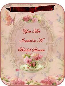 Vintage inspired roses tea Bridal Shower invitations set of 8