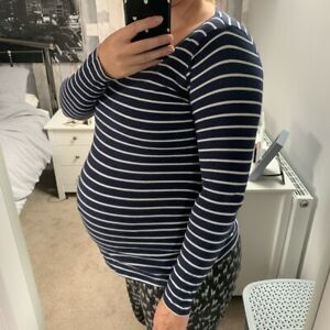 Maternity Navy & White Striped Top Size 12 New Look
