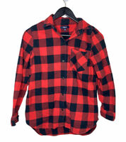 Madewell Flannel Popover Shirt Buffalo Check SZ XS Red Black Plaid J Crew