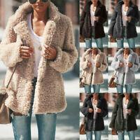 Women's Teddy Bear Winter Warm Thick Fluffy Coat Lapel Fleece Fur Casual Jacket