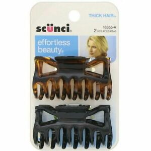 Scunci, Effortless Beauty, Jaw Clips for Thick Hair, 2 Pieces
