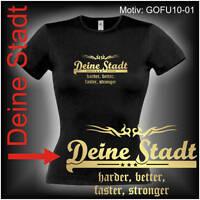 Damen T-Shirt Girlie Shirt mit Wunschtext Stadt oder Namen Wunschdruck GOFU10-01