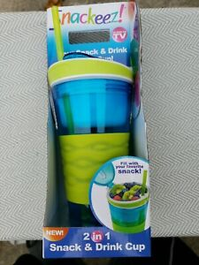 New Snackeez 2 In 1 Drink And Snack Cup New In Box As Seen On Tv!! Green & Blue