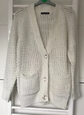 Atmosphere Long Knitted Cardigan White Cream With Pockets Size 8
