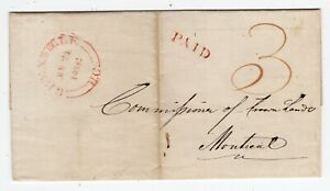 Canada QC Quebec - Grenville 1851 Split Ring - Stampless Cover Cover to Montreal