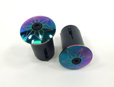 SUPACAZ STAR PLUGS ALLOY ANODIZED OIL SLICK BICYCLE HANDLEBAR GRIP BARENDS