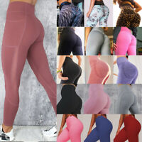 Womens Yoga Pants Pockets Push Up High Waist Fitness Gym Leggings Workout Sports