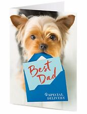 Yorkshire Terrier dog delivers special BEST DAD Father's Birthday greeting card