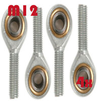 4Pcs SA12T/K Male Threaded Single Row Rod End Oscillating Bearing M12 x 1.75