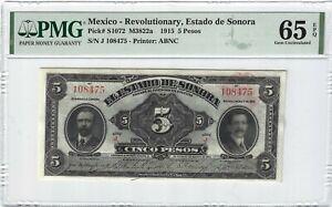 P-S1072 1915 5 Pesos, Mexico, Revolutionary, Estado de Sonora PMG 65EPQ GEM