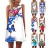 Women's Casual Summer Vintage Sleeveless Floral Print Short Mini Dress Top Shirt