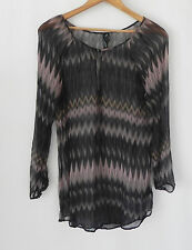 New Guess by Marciano 100% Silk Tunic Top Multi-color Size XS Long Sleeve