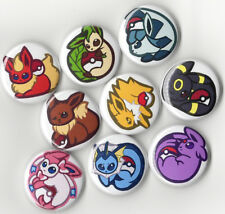 EEVEE POKEMON BUTTON SET - 9pcs (1 inch PIN BACK) on JACKETS or BACKPACK